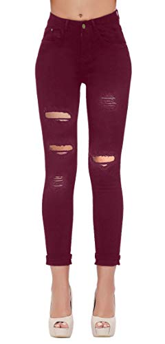 (Women's Casual Ripped Holes Skinny Jeans Jeggings Straight Fit Denim Pants (US 10, Red 15))