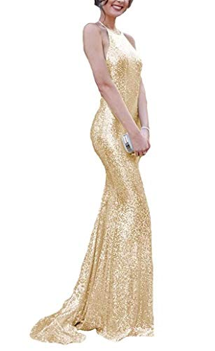 Women's Spaghetti Straps Mermaid Prom Dresses Sequins Formal Evening Gowns Champagne ()