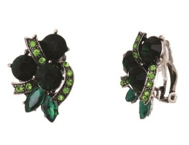[Green Rhinestone Silver Tone Clip on Formal Fancy Earrings] (Little Girl Gypsy Costumes)