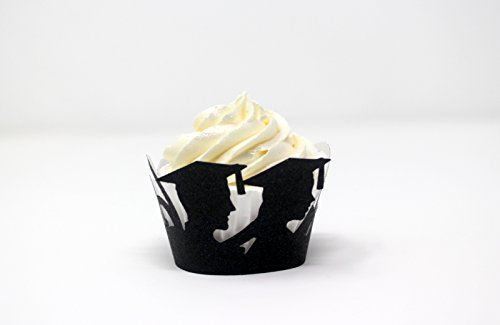 - All About Details Female & Male Graduates Cupcake Wrappers,12pcs (Glitter Black)