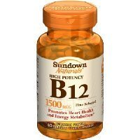 Sundown Naturals B-12, 1500mg, 60-Count Tablets (Pack of 3) Thank you for using our ()