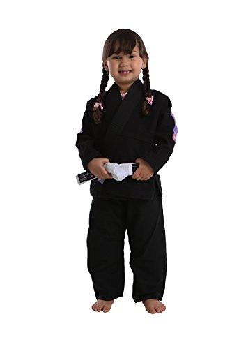 Vulkan Fight Company Brazilian Jiu Jitsu, Girls' BJJ Pro Light GI for Martial Arts Sports, Black w/Lilac Patches, M3