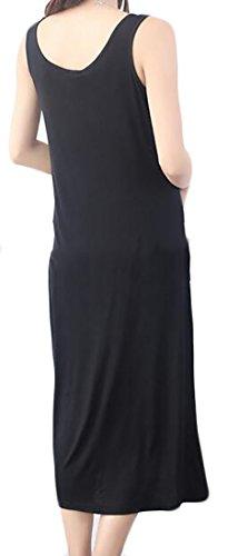 Sundresses Sleeveless Neck O Bohemian Women Dress Black Maxi Beachwear Modal Cromoncent qYg55