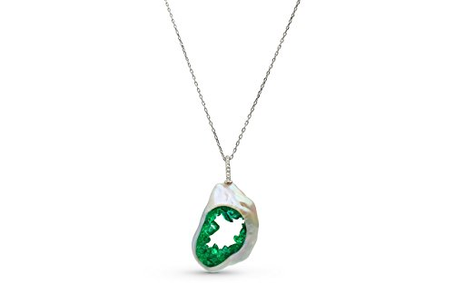 Grotto Collection (Grotto Collection Cultuted Freshwater Souffle Pearl and Emerald Pendant)