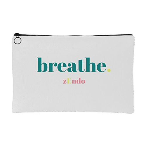 Simple, ZEN'd out Endometriosis Awareness Accessory Pouch- zEndo/Breathe.-Yellow/Pink/Teal