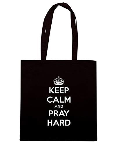 Speed Shirt Borsa Shopper Nera TKC3217 KEEP CALM AND PRAY HARD