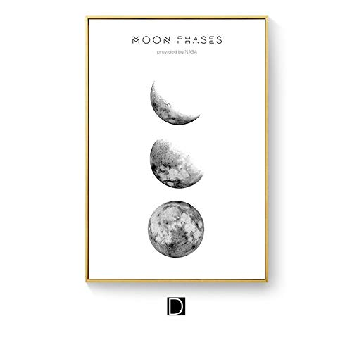 Modern Wall Art Simple Moon Painting Canvas Posters Artwork Pictures Printed for Living Room Bedroom Kid Home Decor Unframed,60x90cm No Frame,4