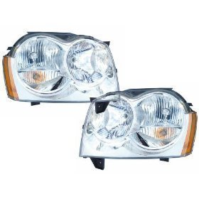 Headlights Depot Replacement for Jeep Grand Cherokee New Headlights Headlamps Set New Pair