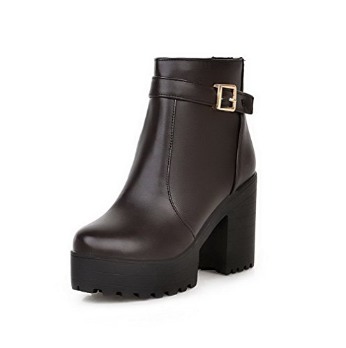 Closed Women's Material AgooLar Heels High top Zipper Boots Low Soft Brown Toe Round SwUUzqCd