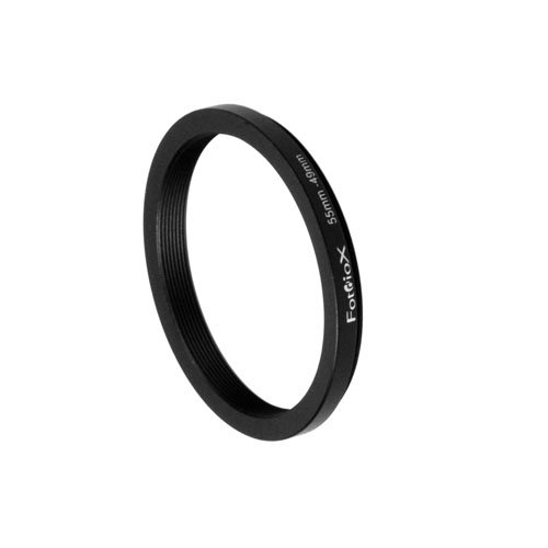 Fotodiox Metal Step Down Ring Filter Adapter, Anodized Black Aluminum 55mm-49mm, 55-49 mm