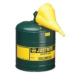 Green Metal Safety Can, Type 1, Five Gallon, with Yellow Plastic Funnel, for Oil Tools Equipment Hand Tools