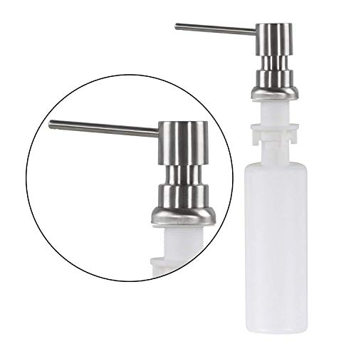 Built in Pump Kitchen Sink Dish Soap Dispenser with Capacity about 10 OZ Bottle Kitchen Sink Countertop Soap Dispenser (Stainless Steel Brushed) by (Spray 10 Ounce Soap)