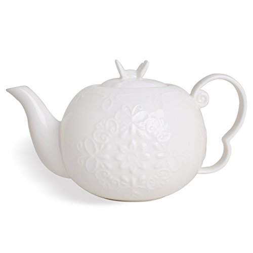 Old Restaurant China Cup (Porcelain Carved Flower and Butterfly 21-Ounce Teapot, 4-Cup White Tea Pot)