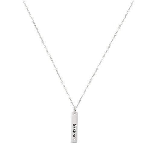 (Diamond Accent Vertical Bar Necklace, Engravable Silver Bar Necklace, 1 1/8