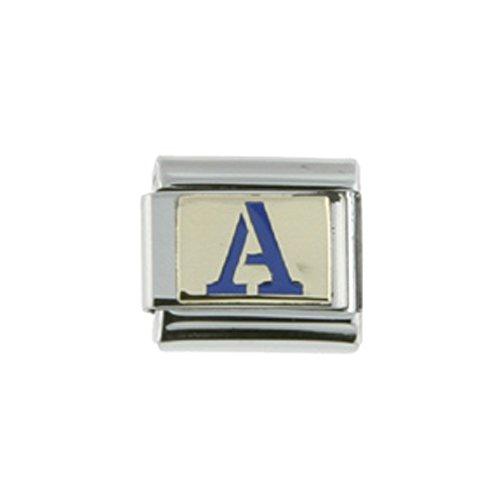 Stainless Steel 18k Gold Italian Charm Initial Letter A for Italian Charm Bracelets Blue Enamel