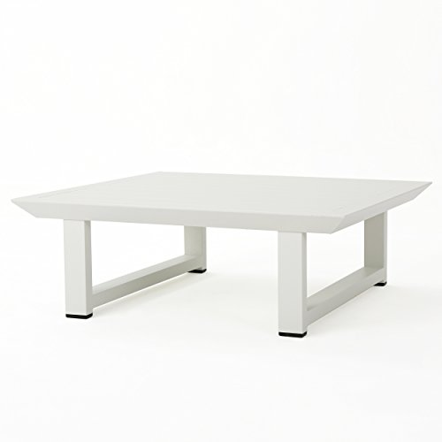 Great Deal Furniture Bonnie Outdoor White Finish Rust-Proof Aluminum Coffee Table
