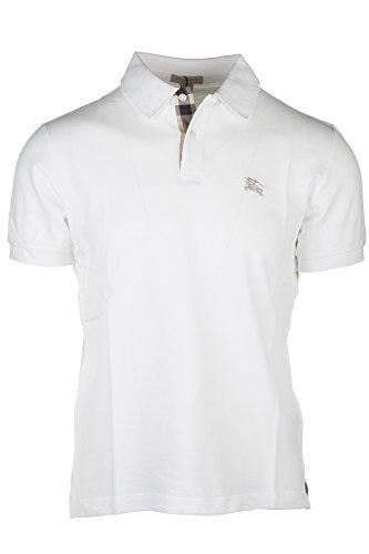 Burberry+Men%27s+Solid+White+Short+Sleeve+Cotton+Pique+Logo+Basic+T-shirt+Polo+%28S%29