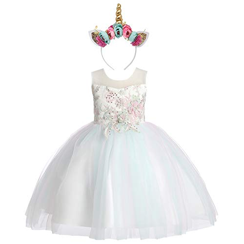 Weileenice 2-14T Girls Costume Cosplay Dress Rainbow Tulle 3D Embroidery Beading Princess Dresses (7-8 Years, Mint Green (with Headband)) ()