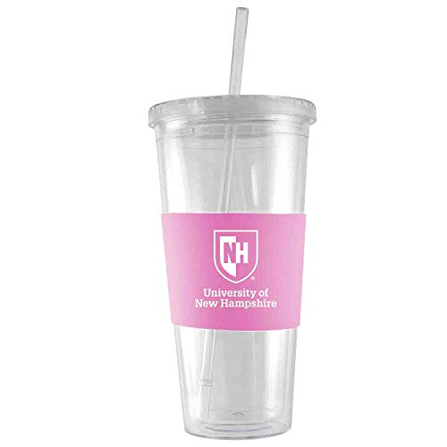 University of New Hampshire-24 oz. Acrylic Tumbler- Engraved Silicone Sleeve-Pink