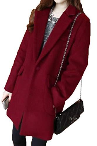 WSPLYSPJY Women's Korea Warm Lapel Mid-Length Wool Jacket Overcoat Wine Red XS