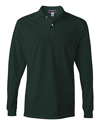 jerzees-mens-jersey-long-sleeve-polo-with-spotshield-forest-green-x-large