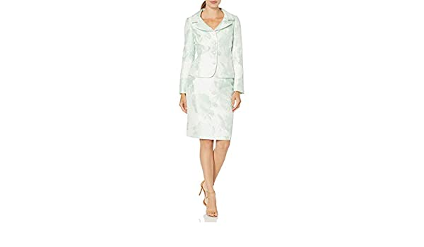 Tahari ASL Womens Plus Size Nested 4 Button Metallic Jacquard Jacket and Pencil Skirt