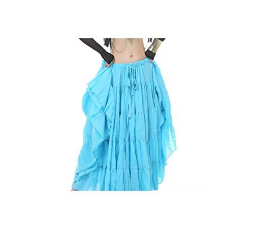 Belly Dance Skirts Women Professional Tribal Belly Dance Skirt 16 Meters Skirts Dance,Turquoise