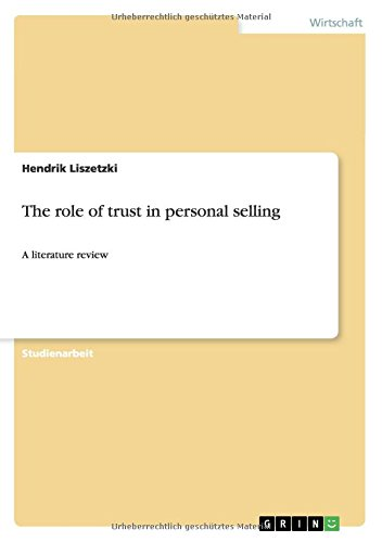 Download The role of trust in personal selling (German Edition) pdf