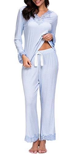Jusfitsu Womens Cotton Pajamas Set Long Sleeve Top Shirt with Pants Sleepwear Modal Soft Loungewear Lace Pattern 2XL