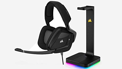 CORSAIR VOID PRO RGB USB Gaming Headset - Dolby 7.1 Surround Sound for PC - Discord Certified - 50mm Drivers - Carbon + RGB Headset Stand
