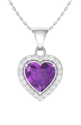 Diamondere Natural and Certified Amethyst and Diamond Heart Necklace in 14k White Gold | 0.51 Carat Pendant with Chain ()