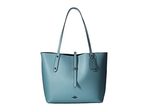 COACH Women's Polished Pebbled Leather Market Tote Dk/Cloud Mineral -