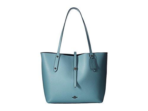 COACH Women's Polished Pebbled Leather Market Tote Dk/Cloud Mineral Handbag ()
