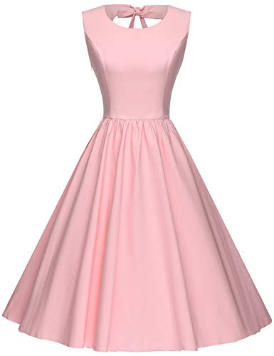 GownTown Women's 1950's Retro Sweetie Swing Stretchy Dresses Pink ()