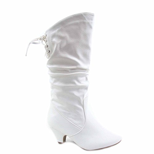 Win-40k Girl's Youth Fashion Round Toe Low Heel Slouch Half Back Lace Zipper Boots Shoes (13, White) (Girls White Boots)