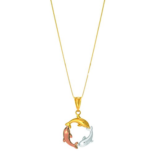 JewelStop 14k Tri-Color Shiny Circle Of Life Dolphin Pendant Necklace, Spring Ring - 18