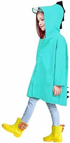 8b6b06a2f632b Queena Kids Boy Girl Dinosaur Raincoat Cute Cartoon Hoodie Outwear Rain  Jacket Age 2-10