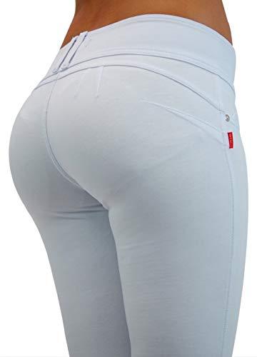 (Premium Stretch Cotton Butt lifting, Levanta Cola, Skinny Leg Premium French Terry Fashion Moleton in White Size S)