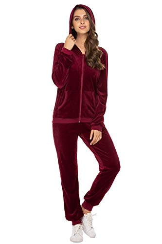 Hotouch Ladies Velour Tracksuit Warm Up Suits Running Activewear Sets Wine Red XXL