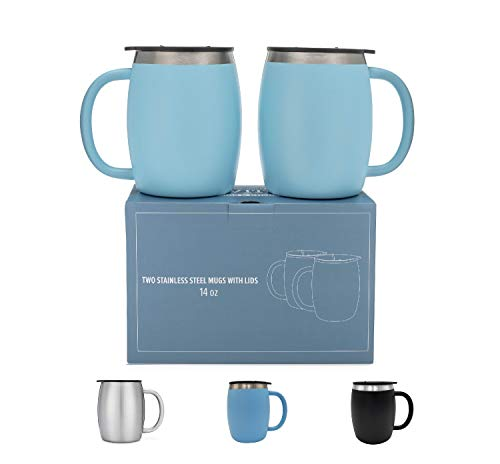 Stainless Steel Coffee Mugs with Lids - 14 Oz Double Walled Insulated Coffee Beer Mugs - Set of 2 - Blue - Best Value - BPA Free Healthy Choice - ()