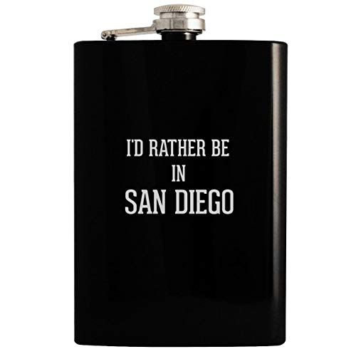 I'd Rather Be In SAN DIEGO - 8oz Hip Drinking Alcohol Flask, Black