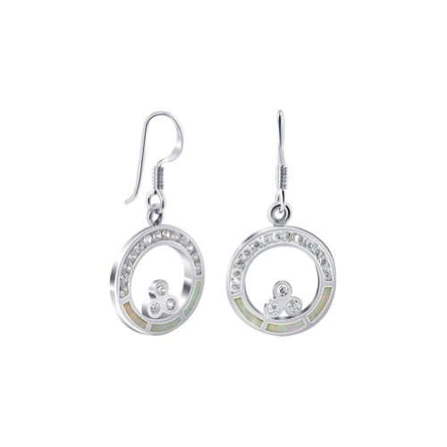 (925 Sterling Silver Created Opal with CZ Accents Earrings with French Hook Findings)