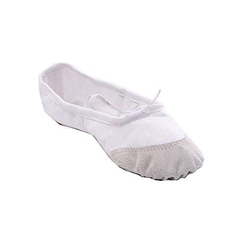 Kids Girls Soft Canvas Ballet Dance Gymnastics Shoes Fitness White RLc1o