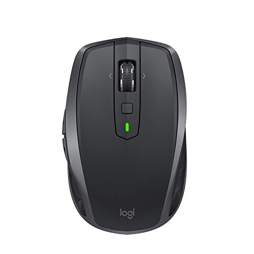 (Logitech MX Anywhere 2S Wireless Mouse - Use on Any Surface, Hyper-Fast Scrolling, Rechargeable, Control up to 3 Apple Mac and Windows Computers and Laptops (Bluetooth or USB), Graphite)