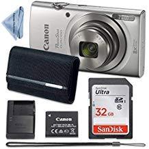Canon PowerShot ELPH 180 Digital Camera (Silver) with 32GB Memory + CASE + Cloth