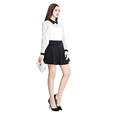 Elonglin Women's High Waist Skirt Basic Solid Flared Casual Pleated Mini Skirt