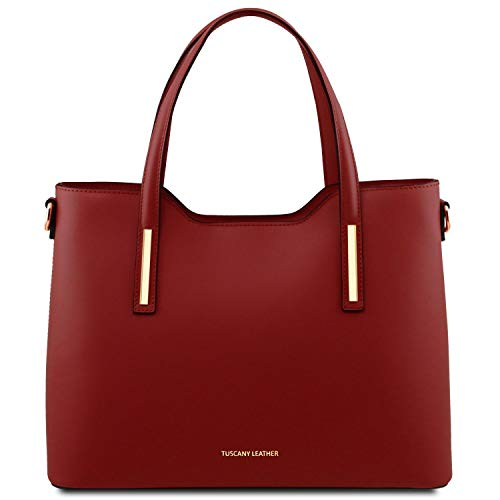 Leather Shopping Borsa In Scuro Tuscany Pelle Blu Olimpia Rosso dqSxtt