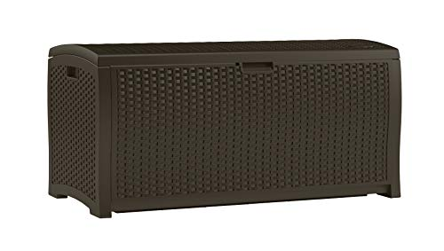 (Suncast 99 Gallon Resin Wicker Patio Storage Box - Waterproof Outdoor Storage Container for Toys, Furniture, Yard Tools - Store Items on Deck, Porch, Backyard - Mocha )