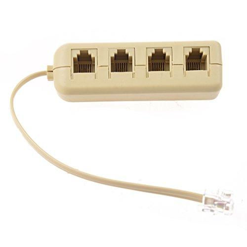 Way Three Adapter Phone - SODIAL(R)RJ11 6P4C to 6P4C 4 Way Telephone Line Modular Splitter Adapter White