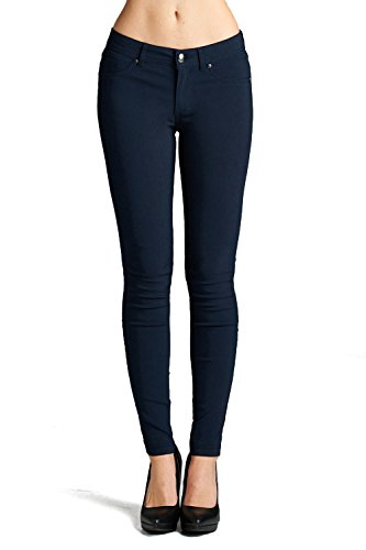 Emmalise Women's Basic Jean Look Jeggings Tights Spandex Skinny Leggings - Navy, (Rayon Nylon)